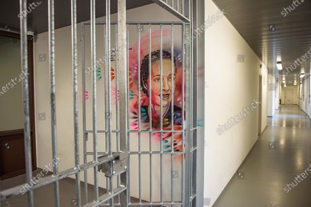 Stock Picture of Christian Guemy, alias C215, street art artist brings art to prisons and in particular to the Sante detention center in Paris at the PITR integration and prevention pole. The portraits made in this space are dedicated to accompanying detainees. C215 offers his works to all the people who come to the remand centers, for different reasons. Here, the realization of the portrait of Simone Veil, who directed the penitentiary administration, brought medico-psychological centers into prison, and generalized libraries. Minister of Health, she decriminalized abortion in France in 1975. It is a voluntary project set up, with the faces of resistance fighters, writers, people of justice, who have left their mark on History or who have a link with this penitentiary center. The aim is to open up avenues for cultural, historical and human reflection with the detainees.