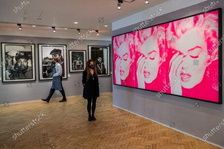 Russell Young, Marilyn Crying (Triptych), 2011 est £ 50,000 - 70,000 and other works - Preview of Bonhams' Pop x Culture sale at New Bond Street. The new sale explores Pop, Street Art and the related art forms that swept across the world, influencing fashion, music, and youth culture.