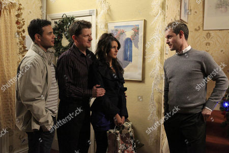 Tina McIntyre [Michelle Keegan] is surprised to see Nick Tilsley [Ben Price] at the Platts and then even more surprised to find out who he is. Also pictures Joe McIntyre [Reece Dinsdale] and Jason Grimshaw [Ryan Thomas].