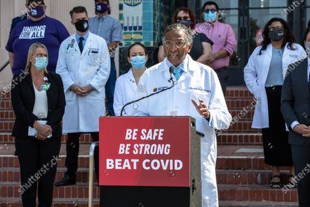Stock Picture of County of San Diego Dr. Rodney Hood speaks during a press conference with community members and medical professionals at the County Building