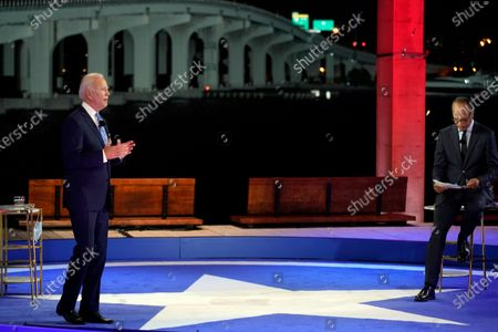 Stock Picture of Democratic presidential candidate former Vice President Joe Biden speaks at a NBC Town Hall at Pérez Art Museum, in Miami. At right is Lester Holt
