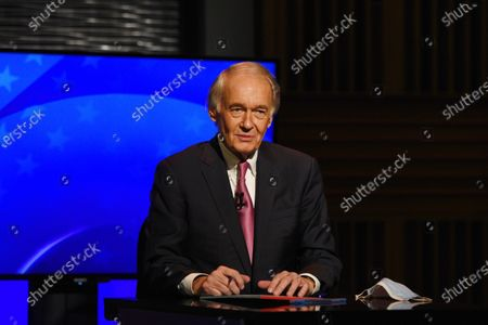 Democratic incumbent U.S. Sen. Edward Markey appears in a debate against Republican challenger Kevin O'Connor, at the GBH Studios in Boston. Due to the coronavirus, Markey and O'Connor debated from separate rooms at the GBH Studios