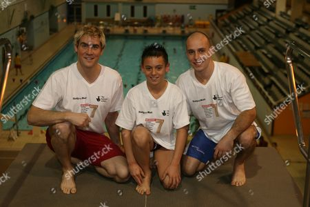 Diver Tom Daley With Mentors (l/r)leon Taylor And Peter Waterfield (olympic Silver Medalists) At The Central Park Pool Magnificent 7 For The 2012 Olympic Games.
