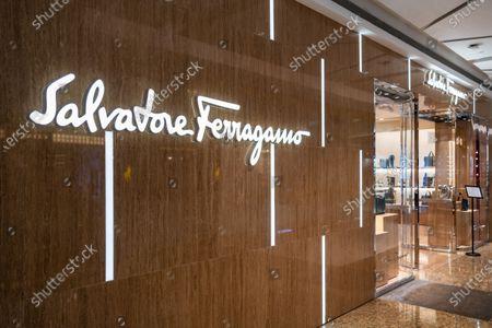Italian luxury goods high-end retailer Salvatore Ferragamo logo and store seen in Shenzhen.
