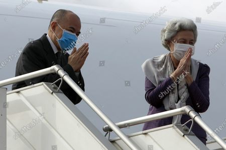 King of Cambodia Norodom Sihamoni (L) and his mother Queen Norodom Monineath (R) board on a plane at Phnom Penh International Airport in Phnom Penh, Cambodia, 06 October 2020. The King and his mother are heading to China for a health check-up.