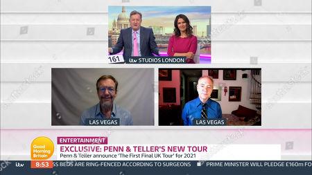 Stock Picture of Piers Morgan, Susanna Reid, Penn Jillette, Teller