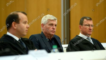 "Stock Image of Former Audi engineer Wolfgang Hatz, center, and his lawyers Joerg Habetha, left, and Gerson Trueg sit in a regional court room in Munich, Germany, . Hatz stands trial in Germany over the ""dieselgate"" emissions scandal, five years after parent company VW admitted responsibility"