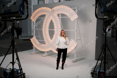 Stock Photo of French actress Joana Preiss poses before Chanel Spring-Summer 2021 fashion collection presented in Paris