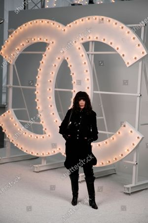 French actress Isabelle Adjani poses before the presentation of Chanel Spring-Summer 2021 fashion collection, in Paris