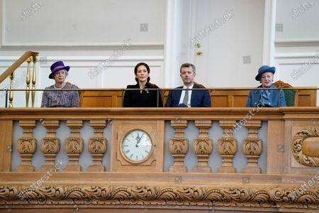 (L-R) Denmark's Princess Benedikte, Crown Princess Mary, Crown Prince Frederik and Queen Margrethe II during Prime Minister Frederiksen's opening speech during the official opening of the Danish Parliament in Copenhagen, Denmark, 06 October 2020.