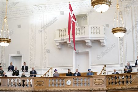 Stock Image of (L-R) Denmark's Princess Benedikte, Crown Princess Mary, Crown Prince Frederik and Queen Margrethe II during Prime Minister Frederiksen's opening speech during the official opening of the Danish Parliament in Copenhagen, Denmark, 06 October 2020.