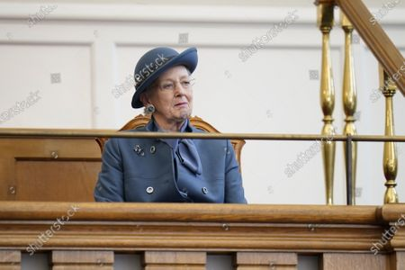 Queen Margrethe II of Denmark listens during Prime Minister Frederiksen's opening speech during the official opening of the Danish Parliament in Copenhagen, Denmark, 06 October 2020.