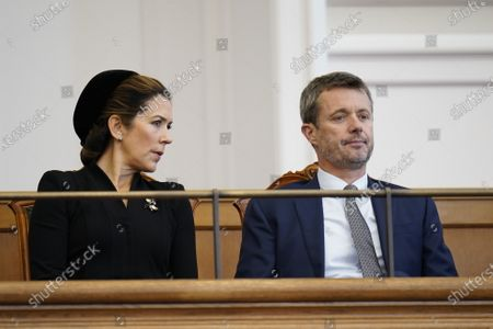 Crown Princess Mary (L) and Crown Prince Frederik (R) of Denmark attend during Prime Minister Frederiksen's opening speech during the official opening of the Danish Parliament in Copenhagen, Denmark, 06 October 2020.