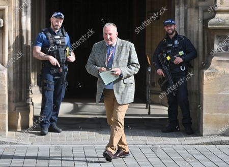 Cricketing legend Sir Ian Botham leaving the Palace of Westminster after being sworn into House of Lords