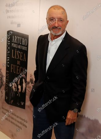 Stock Picture of Spanish writer Arturo Perez-Reverte is seen during the presentation of his new novel 'Linea de Fuego' (lit. Line of Fire) in Madrid, Spain, 06 October 2020.