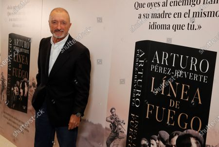 Spanish writer Arturo Perez-Reverte is seen during the presentation of his new novel 'Linea de Fuego' (lit. Line of Fire) in Madrid, Spain, 06 October 2020.