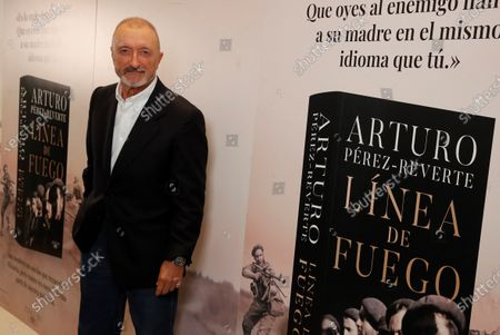 Stock Image of Spanish writer Arturo Perez-Reverte is seen during the presentation of his new novel 'Linea de Fuego' (lit. Line of Fire) in Madrid, Spain, 06 October 2020.