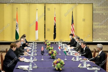 Toshimitsu Motegi, Japan's foreign minister, (2R), speaks to Michael Pompeo, U.S. Secretary of State, (2L), Marise Payne, Australia's foreign minister, (L), and Subrahmanyam Jaishankar, India's foreign minister, (R), during the Quadrilateral Security Dialogue (Quad) ministerial meeting in Tokyo, Japan, 06 October 2020.