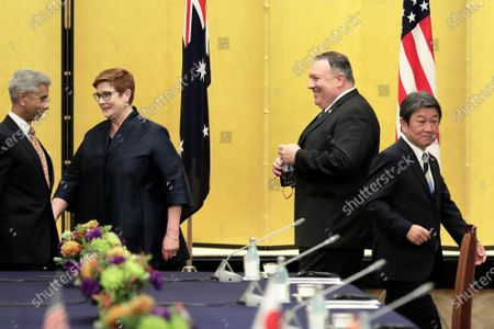 Michael Pompeo, U.S. Secretary of State, (2R), Toshimitsu Motegi, Japan's foreign minister, (R), Marise Payne, Australia's foreign minister, (2L), and Subrahmanyam Jaishankar, India's foreign minister, attend the Quadrilateral Security Dialogue (Quad) ministerial meeting in Tokyo, Japan, 06 October 2020.