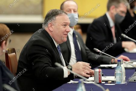 Michael Pompeo, U.S. Secretary of State, speaks during the Quadrilateral Security Dialogue (Quad) ministerial meeting in Tokyo, Japan, 06 October 2020.