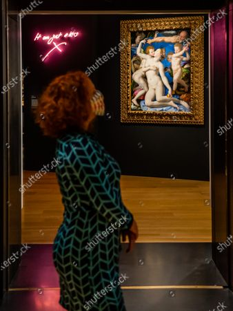 Bronzino, An Allegory with Venus and Cupid about 1545, and Tracey Emin, It was just a kiss 2010 - Sin a new exhibition at the National Gallery. The exhibition will run from 07 Oct 2020 to 03 January 2021 with social distancing, a one way system and other precautions due to the Coronavirus (Covid 19) outbreak.