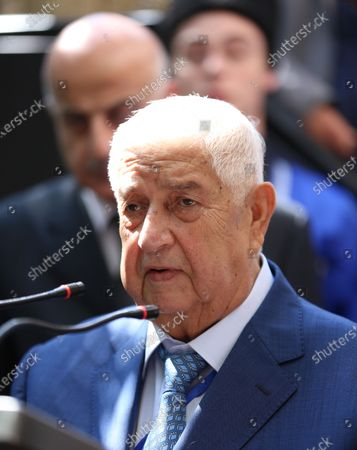 Syrian Foreign Minister Walid al-Moallem speaks during the opening of the Abkhazian embassy in Damascus, Syria, 06 October 2020. An Abkhazian delegation is visiting Damascus for talks on bilateral relations and mutual exemption of visas for the citizens in both countries for bearers of diplomatic, official and private passports. Syria is among only five UN member states, including Russia that recognize Abkhazia as an independent state since a war in 2008 between Abkhaz and Russian forces and the Georgian forces.