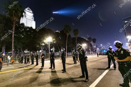 LAPD officers during a protest of the murder of Jonathan Price by Texas police officer Shaun David Lucas