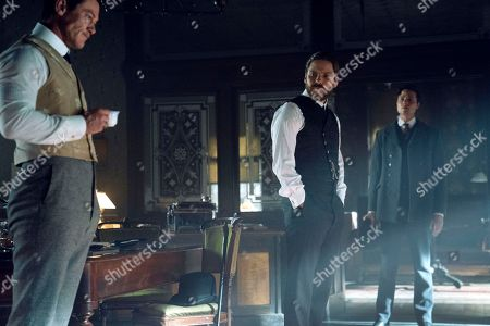 Luke Evans as John Moore, Daniel Bruhl as Laszlo Kreizler and Douglas Smith as Marcus Isaacson