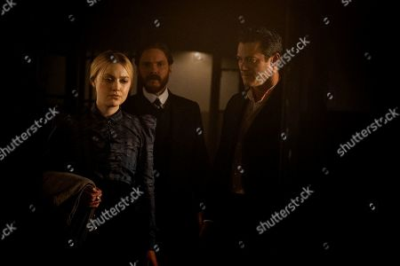 Stock Image of Dakota Fanning as Sara Howard, Daniel Bruhl as Laszlo Kreizler and Luke Evans as John Moore