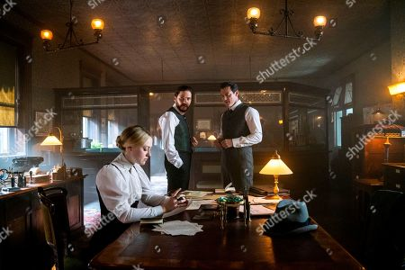 Dakota Fanning as Sara Howard, Daniel Bruhl as Laszlo Kreizler and Luke Evans as John Moore