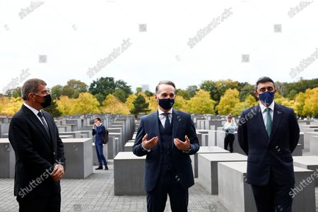 UAE Foreign Minister Sheikh Abdullah bin Zayed al-Nahyan (R) and his Israeli counterpart Gabi Ashkenazi (L) visit the Holocaust memorial together with German Foreign Minister Heiko Maas (C) prior to their historic meeting in Berlin, Germany, 06 October 2020. The UAE and Israeli foreign ministers meet for talks for the first time since in September 2020 the countries signed the Abraham Accords on establishing diplomatic relations.