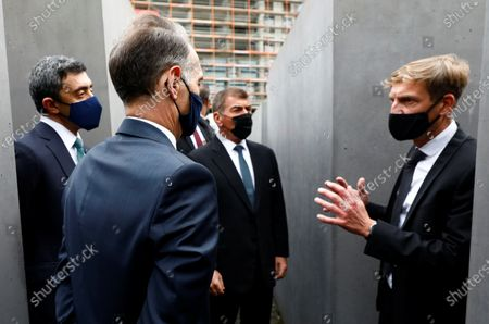 UAE Foreign Minister Sheikh Abdullah bin Zayed al-Nahyan (L) and his Israeli counterpart Gabi Ashkenazi (2R) visit the Holocaust memorial together with German Foreign Minister Heiko Maas (2-L) prior to their historic meeting in Berlin, Germany, 06 October 2020. The UAE and Israeli foreign ministers meet for talks for the first time since in September 2020 the countries signed the Abraham Accords on establishing diplomatic relations.