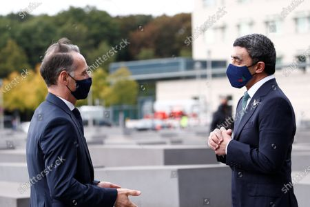 UAE Foreign Minister Sheikh Abdullah bin Zayed al-Nahyan (R) talks with German Foreign Minister Heiko Maas (L) as he and his Israeli counterpart Gabi Ashkenazi (not pictured)  visit the Holocaust memorial together prior to their historic meeting in Berlin, Germany, 06 October 2020. The UAE and Israeli foreign ministers meet for talks for the first time since in September 2020 the countries signed the Abraham Accords on establishing diplomatic relations.
