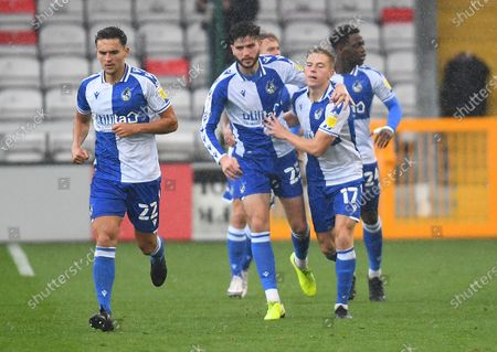 James Daly of Bristol Rovers celebrates with Cian Harries after scoring his side's first goal