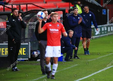 Tranmere Rovers manager Mike Jackson applauds