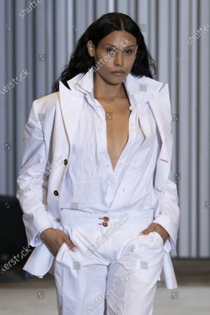 A Model wearing an outfit from the Womens Ready to wear, pret a porter, collections, summer 2021, original creation, during the Womenswear Fashion Week in Paris, from the house of Xuly Bet