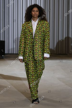 Stock Picture of A Model wearing an outfit from the Womens Ready to wear, pret a porter, collections, summer 2021, original creation, during the Womenswear Fashion Week in Paris, from the house of Xuly Bet