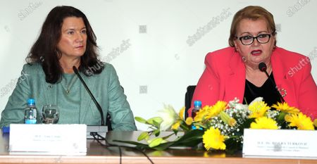 The Foreign Minister of Bosnia and Herzegovina Bisera Turkovic (R) and Swedish Foreign Minister Ann Linde (L) attend a press conference after a meeting in Sarajevo, Bosnia and Herzegovina, 06 October 2020. Ann Linde is on an official visit to Bosnia.