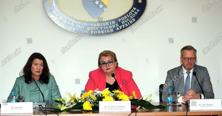 The Foreign Minister of Bosnia and Herzegovina Bisera Turkovic (C) and Swedish Foreign Minister Ann Linde (L) and  Minister for Home Affairs Mikael Damberg (R), attend a press conference after a meeting in Sarajevo, Bosnia and Herzegovina, 06 October 2020.