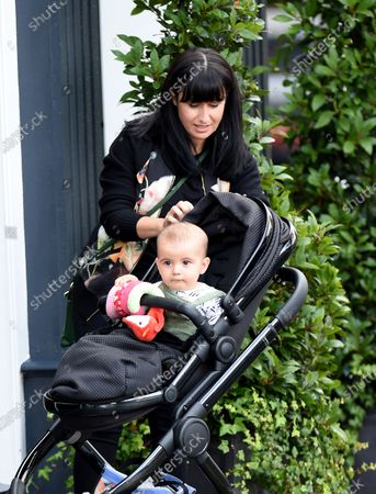 Hayley Tamaddon and baby Jasper enjoy lunch.