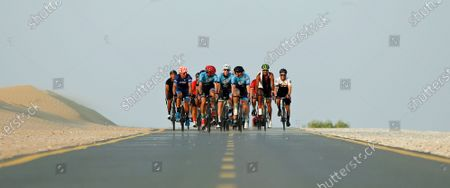 Cyclists take part in 'Ride With Lance' in the Gulf emirate of Dubai, United Arab Emirates, 06 October 2020. The US professional cyclist Lance Armstrong invited Dubai cyclists to ride along with him for 50Km loop at the Al Qudra Cycling Track outside Dubai while observing all of the COVID-19 preventive regulations.