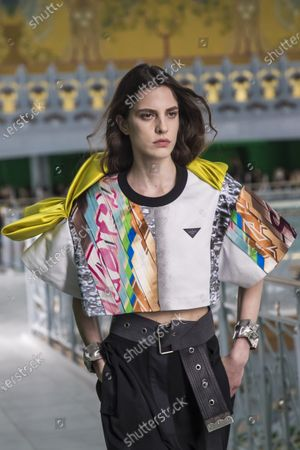 A model presents a creation from the Spring/Summer 2021 Ready to Wear collection by French designer Nicolas Ghesquiere for Louis Vuitton fashion house at the newly renovated department store 'La Samaritaine' during the Paris Fashion Week, in Paris, France, 06 October 2020. The fashion week runs from 29 September to 06 October 2020.