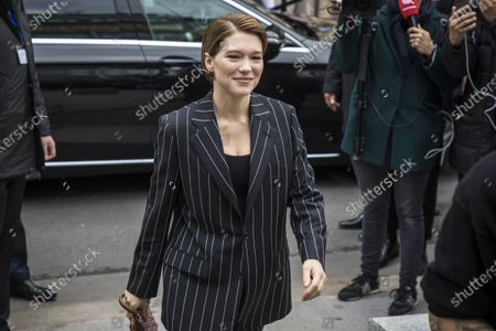 French actress Lea Seydoux arrives for the presentation of the Spring/Summer 2021 Ready to Wear collection by French designer Nicolas Ghesquiere for Louis Vuitton fashion house at the newly renovated department store 'La Samaritaine' during the Paris Fashion Week, in Paris, France, 06 October 2020. The fashion week runs from 29 September to 06 October 2020.