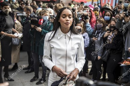 US actress Laura Harrier arrives for the presentation of the Spring/Summer 2021 Ready to Wear collection by French designer Nicolas Ghesquiere for Louis Vuitton fashion house at the newly renovated department store 'La Samaritaine' during the Paris Fashion Week, in Paris, France, 06 October 2020. The fashion week runs from 29 September to 06 October 2020.