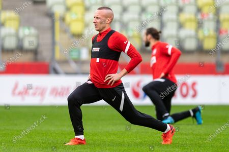 Jacek Goralski in action during the official training session one day before the international football friendly match between Poland and Finland at the Energa Stadium.