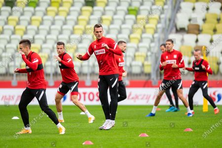 Arkadiusz Milik in action during the official training session one day before the international football friendly match between Poland and Finland at the Energa Stadium.
