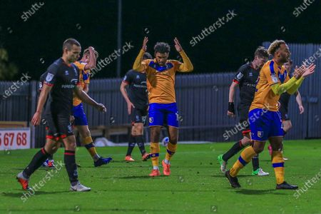 Stock Picture of Jamie Reid of Mansfield Town (19) reacts during the EFL Trophy match between Mansfield Town and Lincoln City at the One Call Stadium, Mansfield