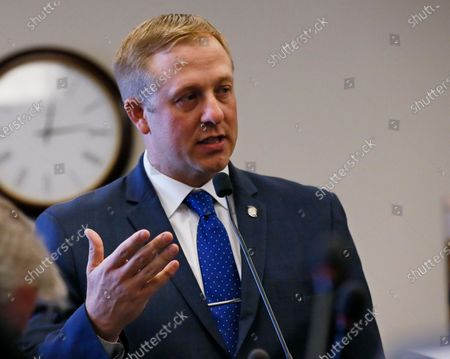 In this Oct. 24, 2017, then Oklahoma state Rep. Michael Rogers, R-Broken Arrow, speaks in Oklahoma City. Current Oklahoma Secretary of State Rogers is stepping down from his post. Gov. Kevin Stitt announced the change in a press release on