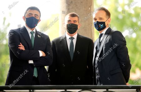 Stock Picture of German Foreign Minister Heiko Maas, right, stands with the Foreign Minister United Arab Emirates Sheikh Abdullah bin Zayed Al Nahyan, left, and Foreign Minister of Israel, Gabi Ashkenazi, center, as they arrive for talks at the German Foreign Ministry's guesthouse Villa Borsig, in Berlin, Germany