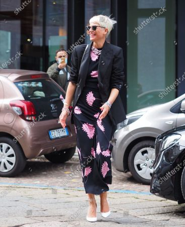 Stock Picture of Elisa Nalin street style outfit before Drome fashion show during Milano fashion week fall winter 2020